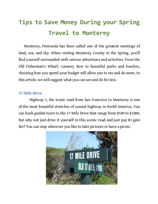 Tips to Save Money During your Spring Travel to Monterey Tips to Save Money During your Spring Travel to Mo