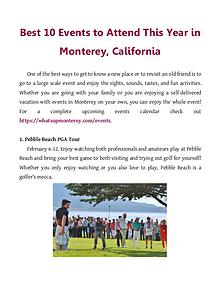 Best 10 Events to Attend This Year in Monterey, California