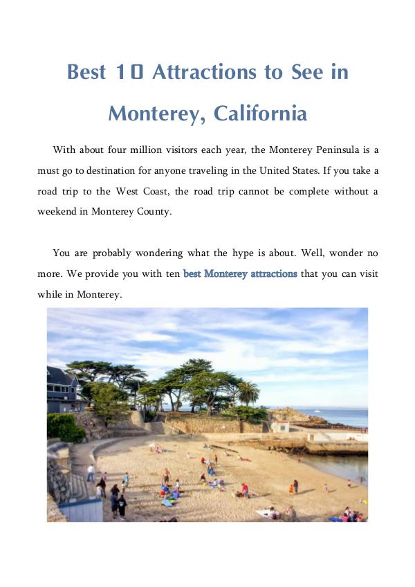 Best 10 Attractions To See In Monterey California Best 10