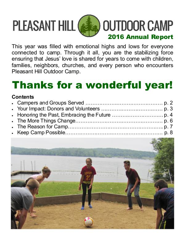 Pleasant Hill Outdoor Camp Annual Reports Annual Report 2016
