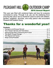 Pleasant Hill Outdoor Camp Annual Reports