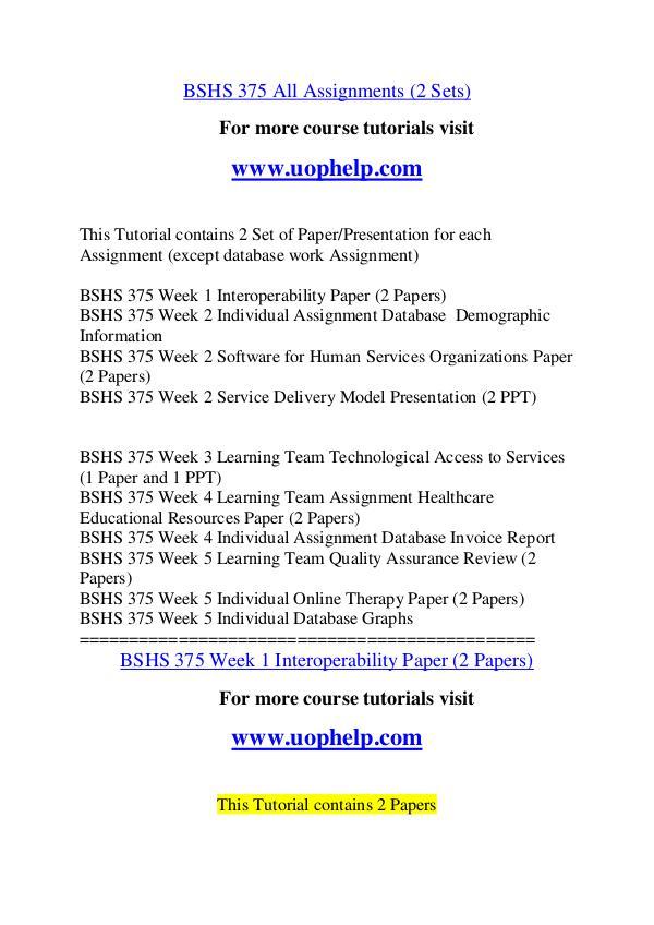 BSHS 375 Endless Education /uophelp.com BSHS 375 Endless Education /uophelp.com