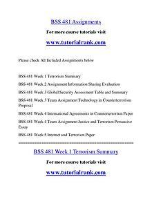BSS 481 Course Great Wisdom / tutorialrank.com