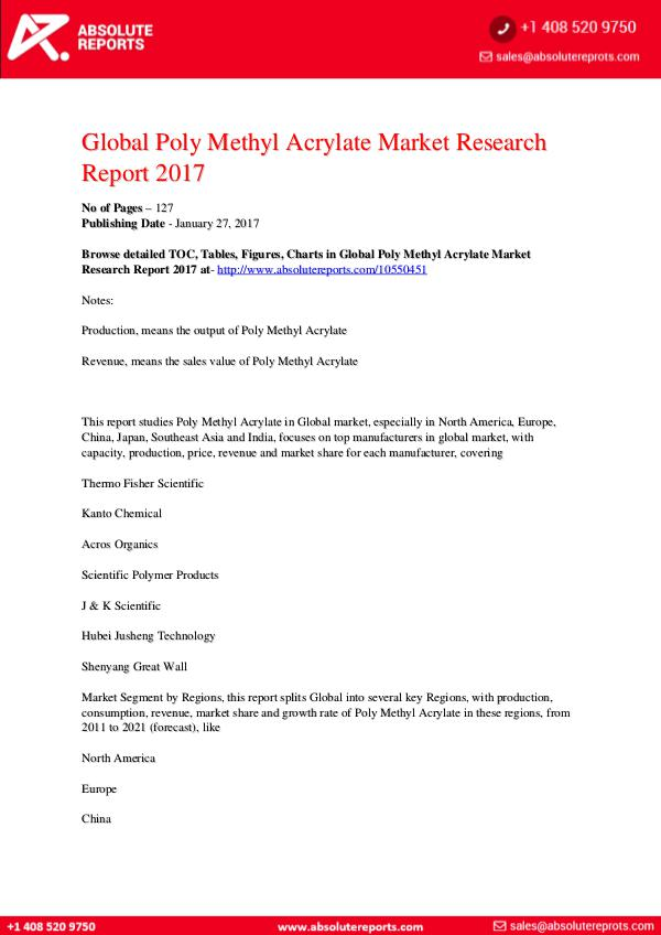Poly Methyl Acrylate Market Research Report 2017 Global Poly Methyl Acrylate Market Research Report