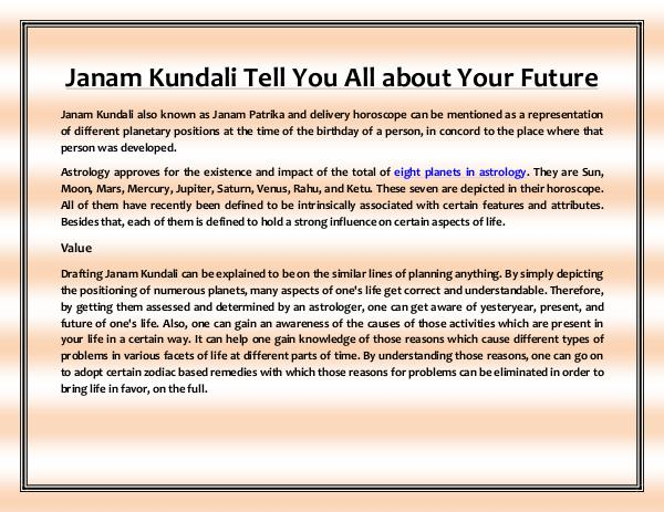 Janam Kundali Tell You All About Your Future fortunespeaks - key towards fortune