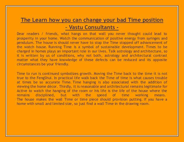 The Learn how you can change your bad Time position - Vastu Consultan The Learn how you can change your bad Time positio