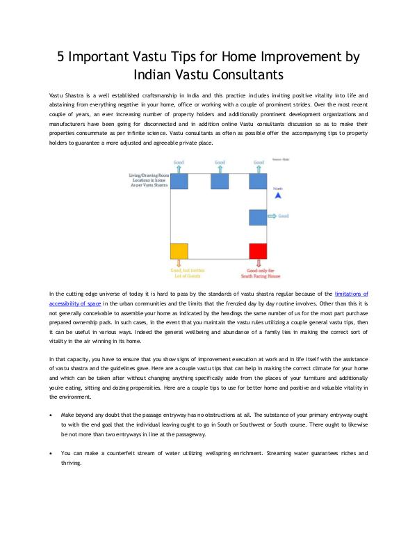 5 Important Vastu Tips for Home Improvement by Indian Vastu Consultan 5 Important Vastu Tips for Home Improvement by Ind
