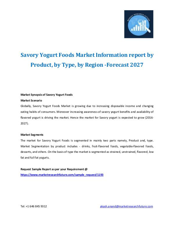 Savory Yogurt Foods Market Information report Savory Yogurt Foods Market Information report