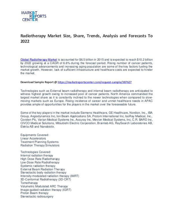 Radiotherapy Market Size, Share, Trends To 2021 Radiotherapy Market