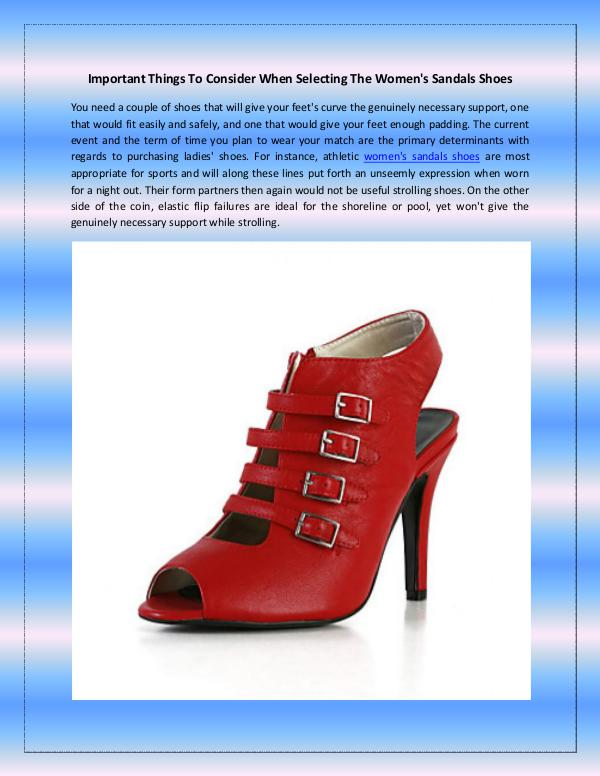 Important Things To Consider When Selecting The Women's Sandals Shoes Important Things To Consider When Selecting The Wo