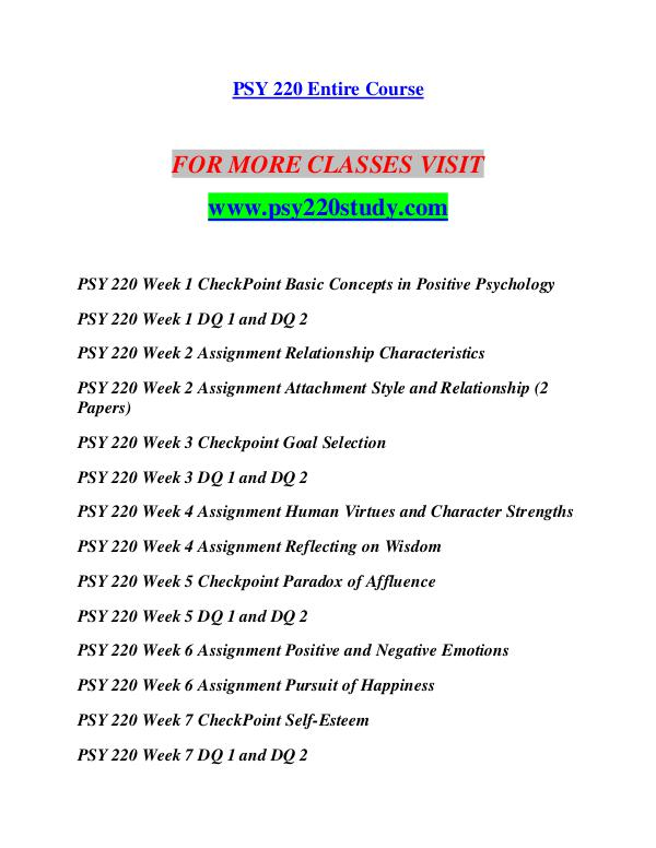PSY 220 UOP Courses Tutorial / Uoptutorial