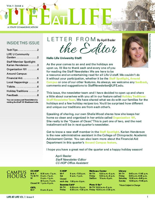 Life University Staff Council Newsletter Volume7Issue4