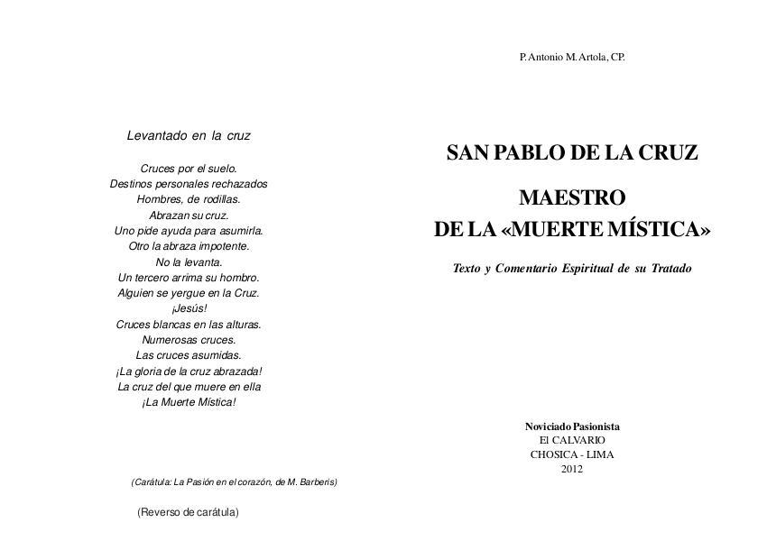 """SAN PABLO DE LA CRUZ """"MAESTRO DE LA MUERTE MISTICA"""" Padre Antonio Maria Artola"""
