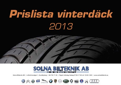 Prislista Däck 2013 Sep - Okt