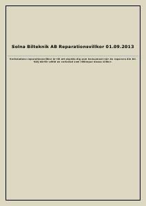 Solna Bilteknik Reparationsvillkor 2013.09.01 2013 2013