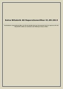 Solna Bilteknik Reparationsvillkor 2013.09.01 2013
