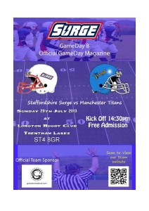 Staffordshire Surge Gameday Magazine vs Manchester Titans, Gameday 8