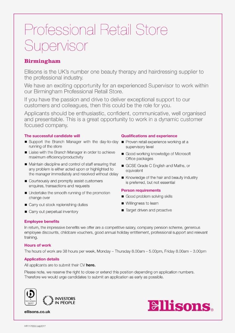 HR117041 - Supervisor PRS Birminghm (Mar 18)