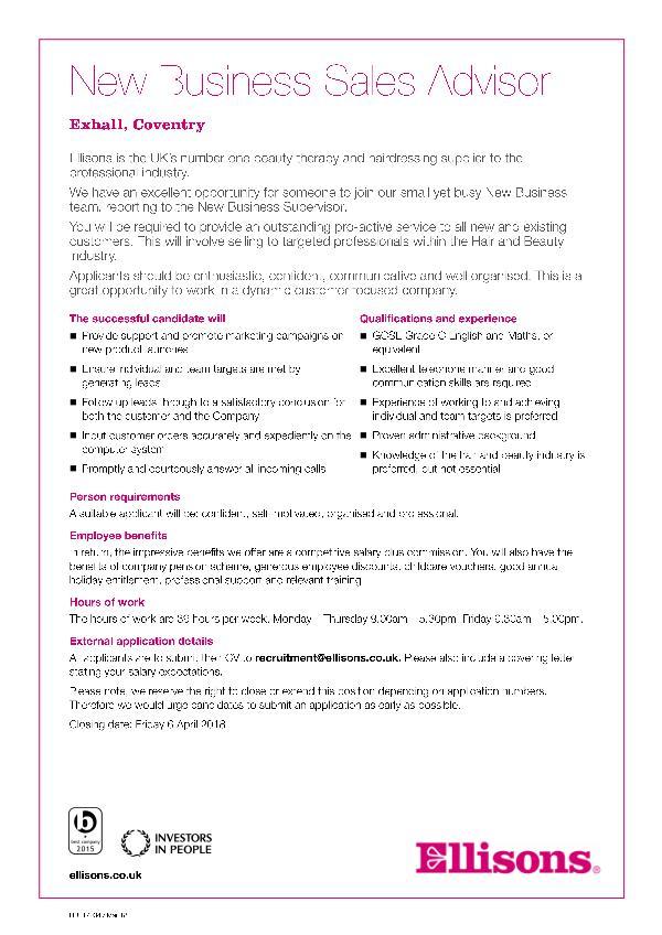 HR117034 - New Business Advisor (March 18) externa