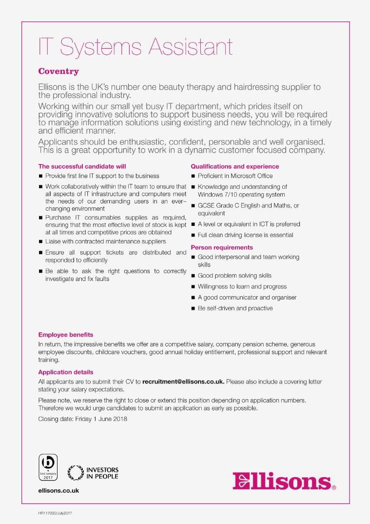 HR117042 - IT Systems Assistant external (April 20