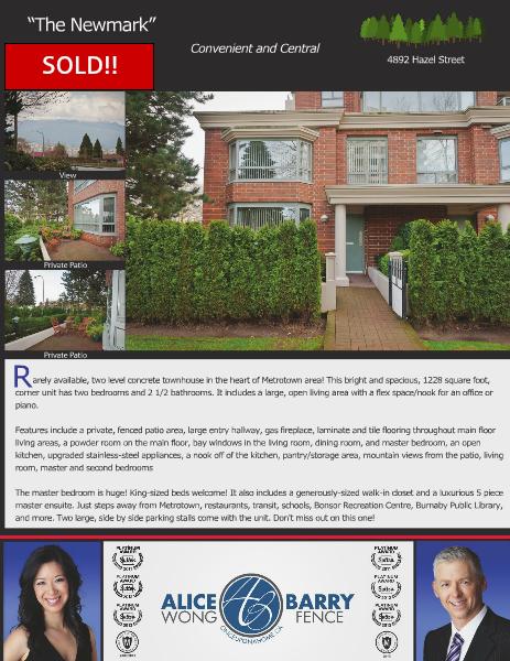 Sold Listings - Burnaby 4892 Hazel Street, Burnaby, B.C.