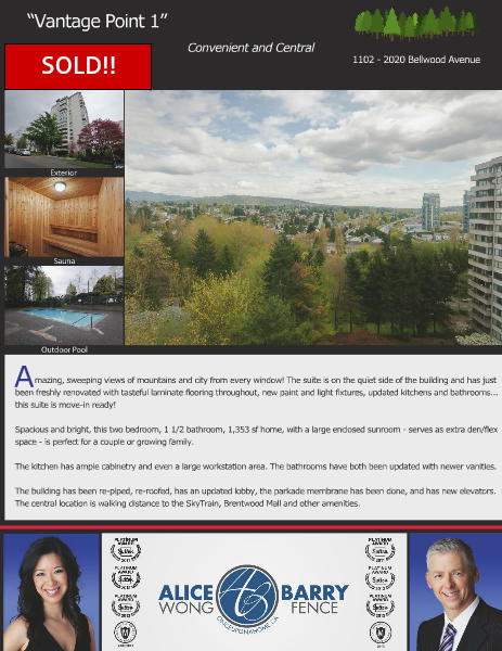 Sold Listings - Burnaby 1102-2020 Bellwood Avenue, Burnaby, B.C.