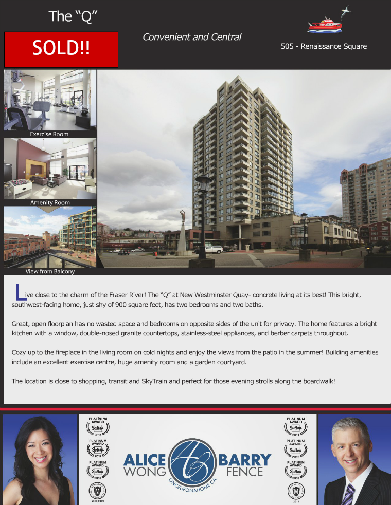 Sold Listings - New Westminster 505-1 Renaissance Square, New Westminster, B.C.