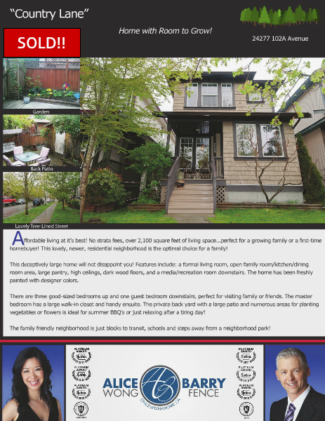 Sold Listings - Maple Ridge 24277 102A Avenue, B.C., Canada