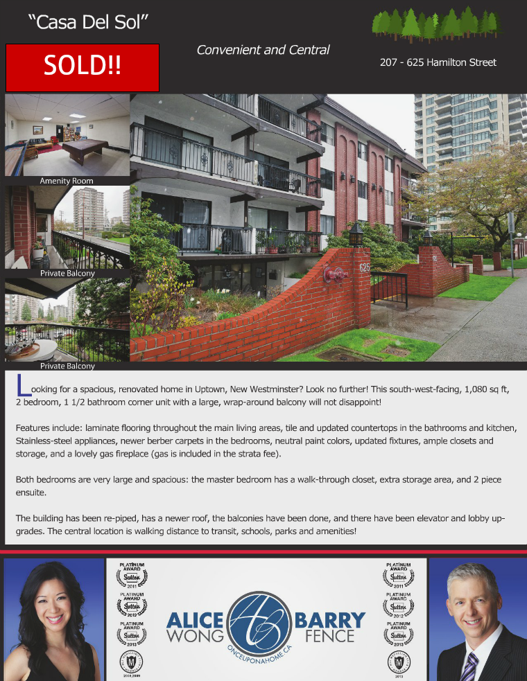 Sold Listings - New Westminster 207-625 Hamilton Street
