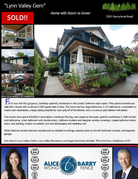 Sold Listings - North Vancouver 3183 Sunnyhurst Road