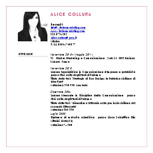 ALICE COLLURA CURRICULUM VITAE ViterboMarketing   CV