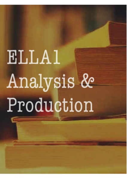 A Level English Lang and Lit ELLA 1