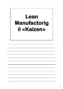 Lezioni di Qualità in Azienda - Kei-Zen e Lean Manufactoring