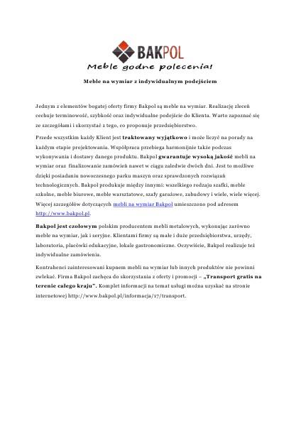 Meble na wymiar - Bakpol 2014