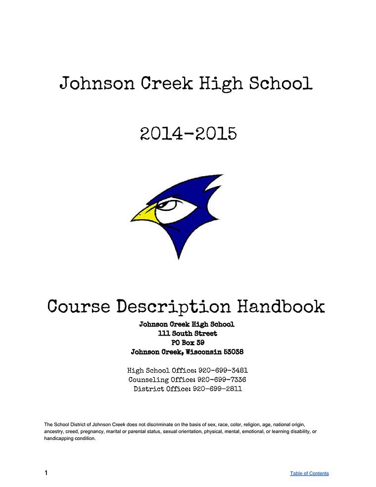 Course Description Handbook 2014-15