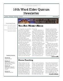 Home Teaching Newsletter