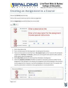 Spalding COE LiveText Help - Creating an Assignment