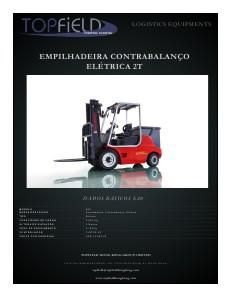 Empilhadeiras e Equipamentos de Logística EMPILHADEIRAS CONTRABALANÇO ELÉTRICAS DE 2T