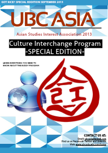UBC ASIA Newsletter 2013-2014 Buddy Exchange: Sep. 2013