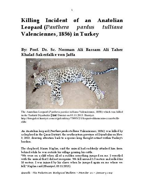 Gazelle : The Palestinian Biological Bulletin (ISSN 0178 – 6288) . Number 121, January 2015, pp. 1-20.