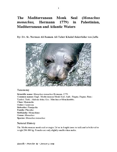 Gazelle : The Palestinian Biological Bulletin (ISSN 0178 – 6288) . Number 85, January 2009, pp. 1-20.
