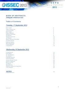 ISSEC 2013 Book of Abstracts (Sept. 2013)