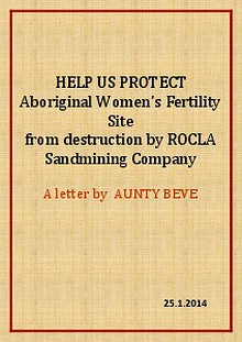 PLEASE HELP US PROTECT ABORIGINAL WOMEN FERTILITY SITE
