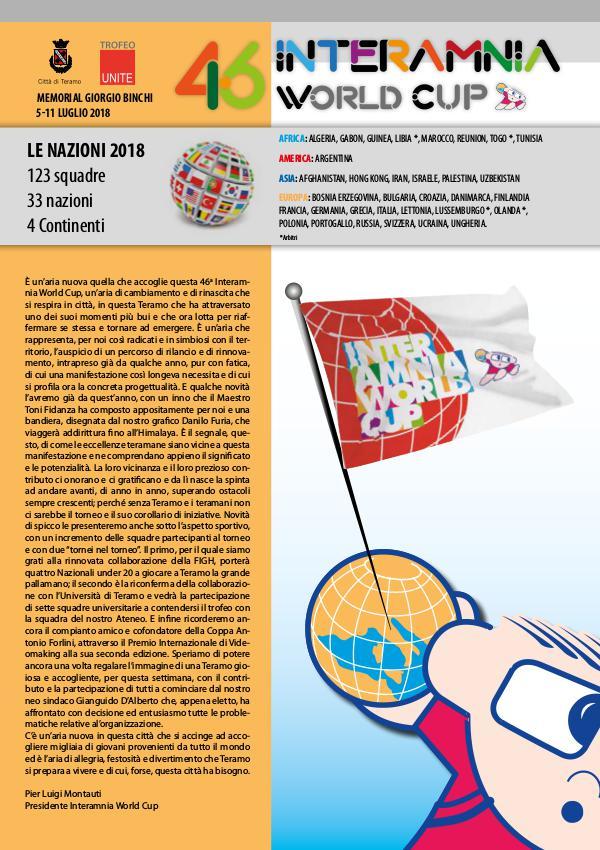 """""""46^ INTERAMNIA WORLD CUP"""" MAGAZINE UFFICIALE GIORNALINO-2018"""