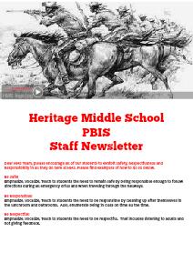 Heritage Middle PBIS Volume 1