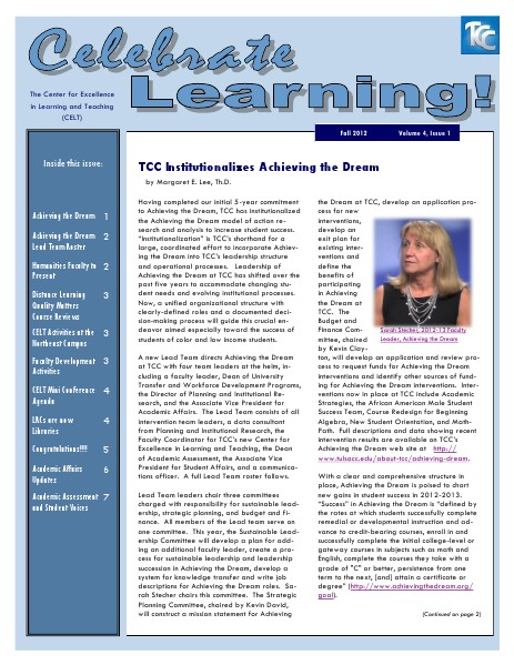 Celebrate Learning! Fall 2012 (Volume 4, Issue 1)