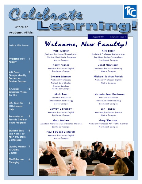Celebrate Learning! Fall 2011 (Volume 3, Issue 1)
