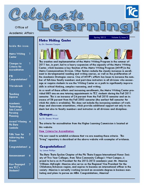 Celebrate Learning! Spring 2012 (Volume 3, Issue 2)