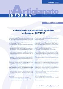 L'Artigianato Informa Gennaio 2013