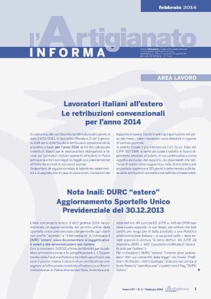 L'Artigianato Informa Febbraio 2014